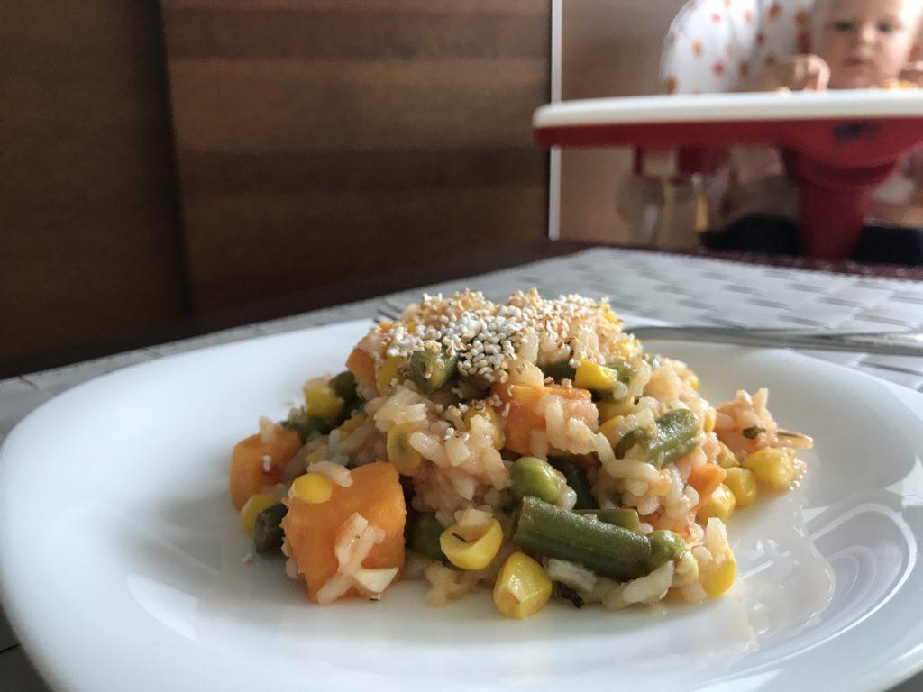 Rissotto z kukurydzą, zielonym groszkiem i fasolką szparagową
