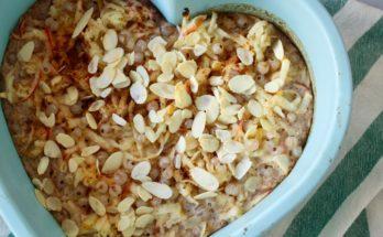 Zapiekane płatki ryżowe z jabłkiem i porzeczkami. BLW.