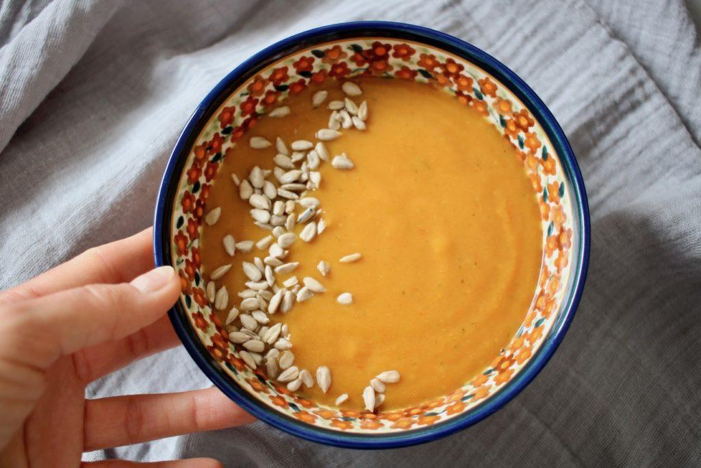 Zupa krem z batata z suszonymi pomidorami i mlekiem kokosowym BLW