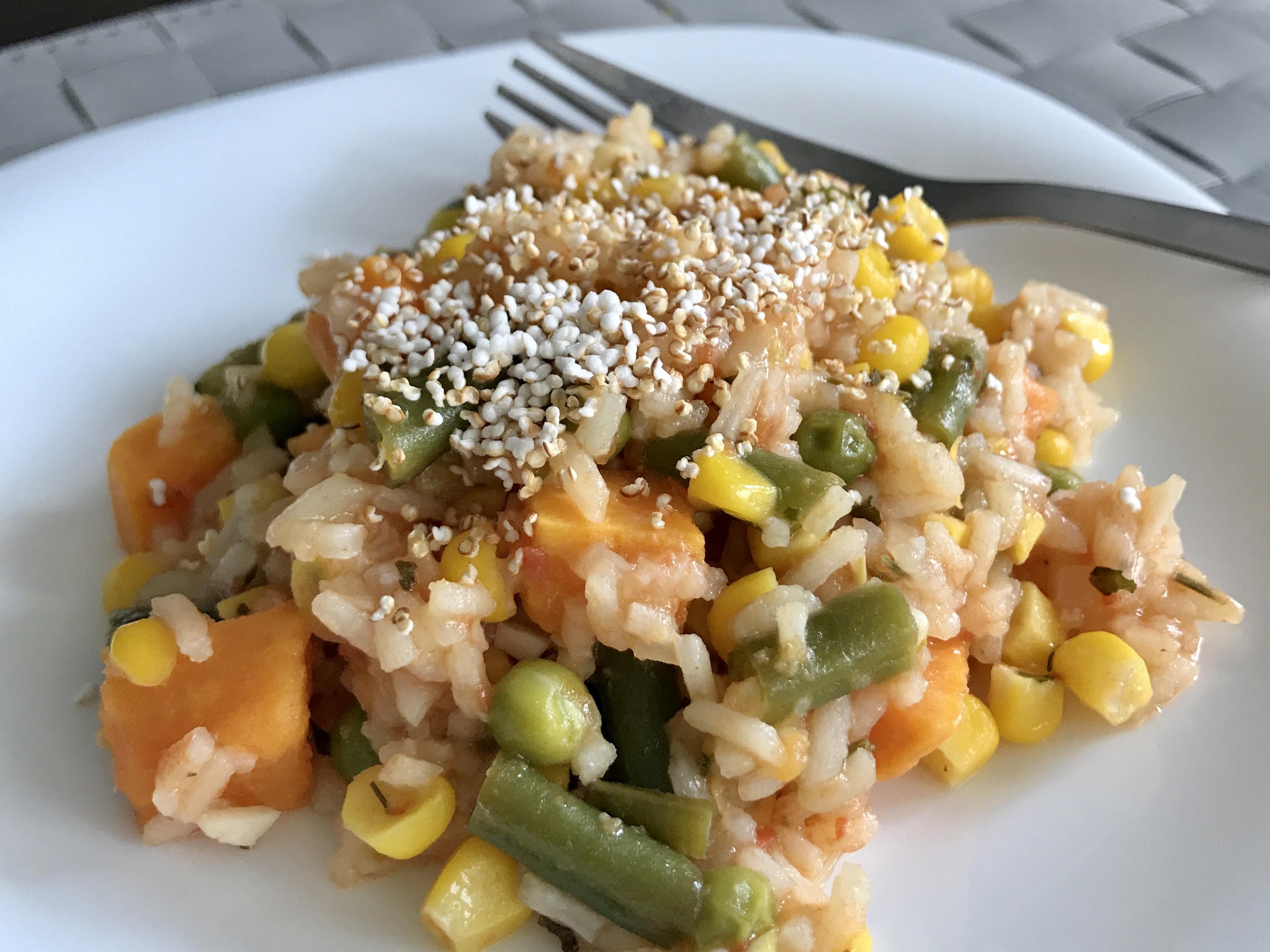 Risotto z kukurydzą, zielonym groszkiem i fasolką szparagową